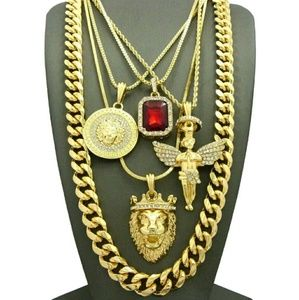 Other - MENS ICED OUT HIP HOP GOLD KING LION ANGEL   & RED